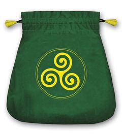 Celtic Triskel Green Velvet Tarot Bag